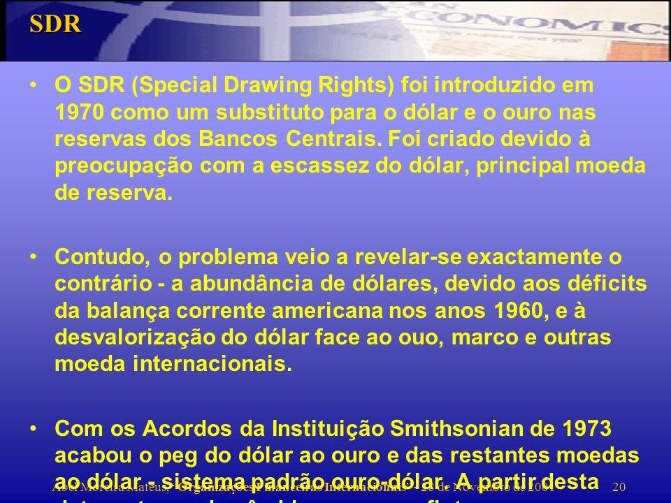 Abel Moreira Mateus, Organizações Financeiras Internacionais - 28 de Novembro de 2001 21 Assistência financeira Em 1994/95 os commitments do FMI totalizaram SDR 19,6bn.