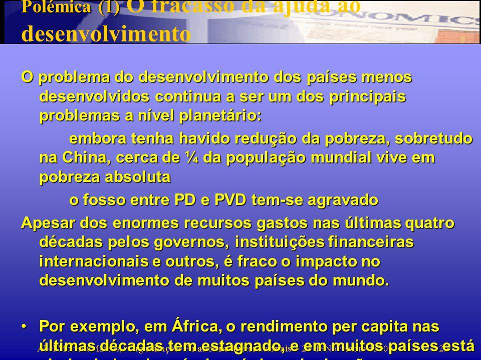 Abel Moreira Mateus, Organizações Financeiras Internacionais - 28 de Novembro de 2001 30 But LDC growth has been non- existent in 1980s and 1990s Median per capita growth for developing countries in 1980-98 was 0.0 %