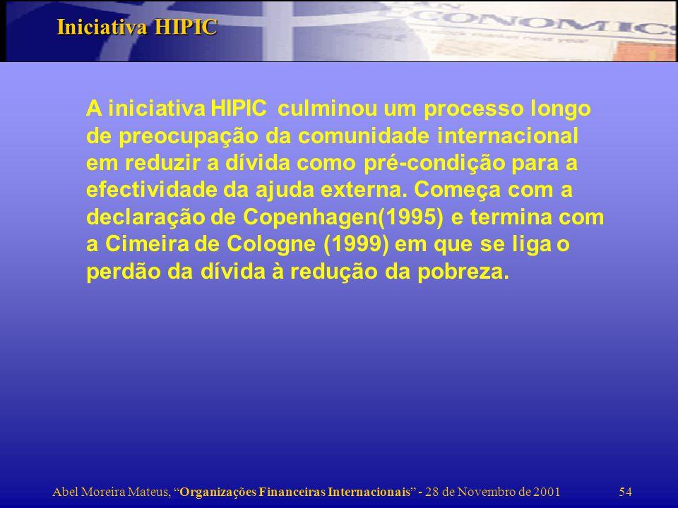 Abel Moreira Mateus, Organizações Financeiras Internacionais - 28 de Novembro de 2001 55 Eligibilidade : países com acesso à AID, altamente endividados e que resolvam aplicar o perdão da dívida em programas de combate à pobreza.