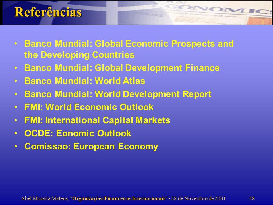 Abel Moreira Mateus, Organizações Financeiras Internacionais - 28 de Novembro de 2001 59 Sites da internet Instituições internacionais –www.imf.org –www.worldbank.org –www.imf.org –www.europa.org –www.oecd.org Sobre a crise asiática: –Stern School, New York University (N.