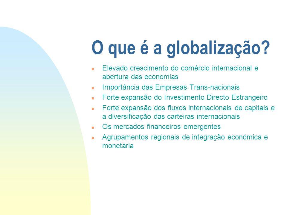 O que é a globalização? n Elevado crescimento do comércio internacional e abertura das economias n Importância das Empresas Trans-nacionais n Forte ex