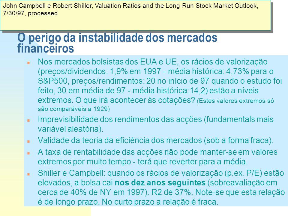 O perigo da instabilidade dos mercados financeiros n Nos mercados bolsistas dos EUA e UE, os rácios de valorização (preços/dividendos: 1,9% em 1997 -