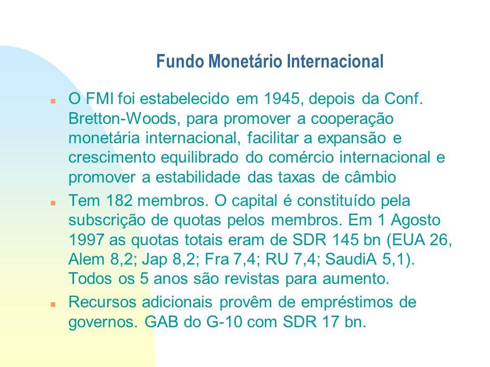 Fundo Monetário Internacional O FMI foi estabelecido em 1945, depois da Conf. Bretton-Woods, para promover a cooperação monetária internacional, facil