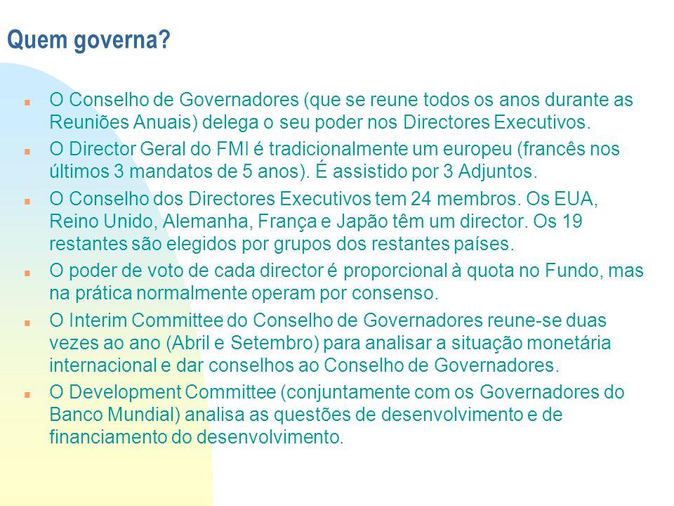 Quem governa? n O Conselho de Governadores (que se reune todos os anos durante as Reuniões Anuais) delega o seu poder nos Directores Executivos. n O D