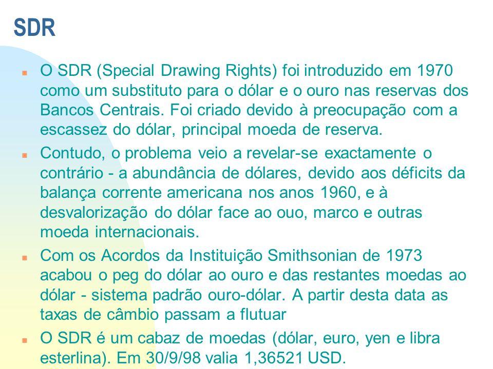 SDR n O SDR (Special Drawing Rights) foi introduzido em 1970 como um substituto para o dólar e o ouro nas reservas dos Bancos Centrais. Foi criado dev