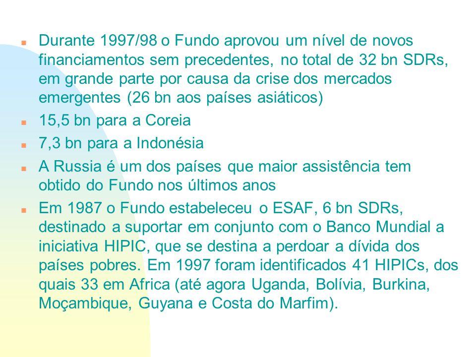 n Durante 1997/98 o Fundo aprovou um nível de novos financiamentos sem precedentes, no total de 32 bn SDRs, em grande parte por causa da crise dos mer