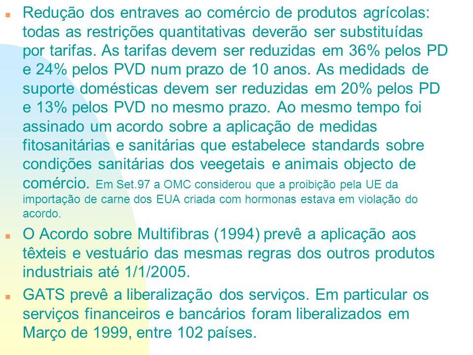 n Redução dos entraves ao comércio de produtos agrícolas: todas as restrições quantitativas deverão ser substituídas por tarifas. As tarifas devem ser