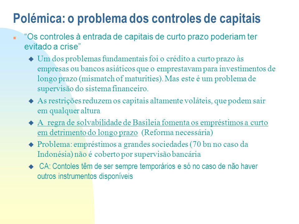 """Polémica: o problema dos controles de capitais """"Os controles à entrada de capitais de curto prazo poderiam ter evitado a crise""""  Um dos problemas fun"""