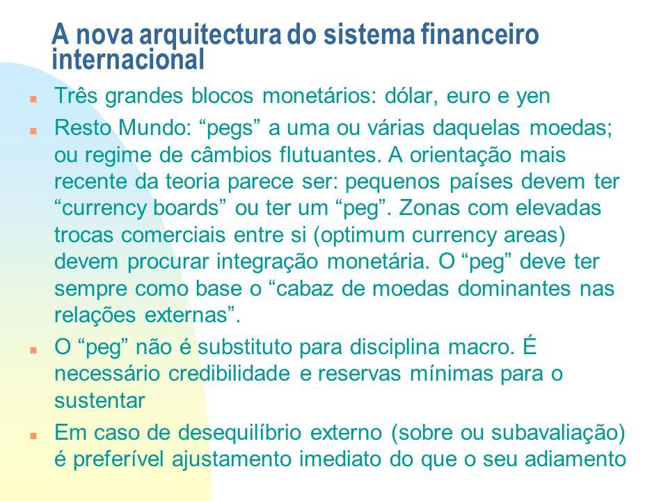 """A nova arquitectura do sistema financeiro internacional Três grandes blocos monetários: dólar, euro e yen Resto Mundo: """"pegs"""" a uma ou várias daquelas"""