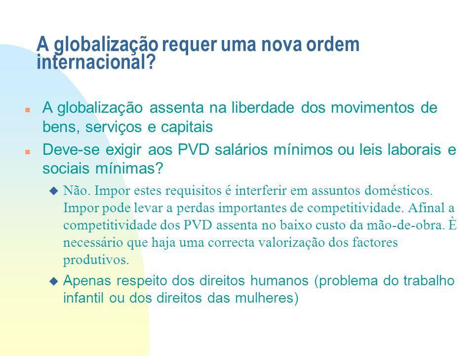 A globalização requer uma nova ordem internacional? A globalização assenta na liberdade dos movimentos de bens, serviços e capitais Deve-se exigir aos