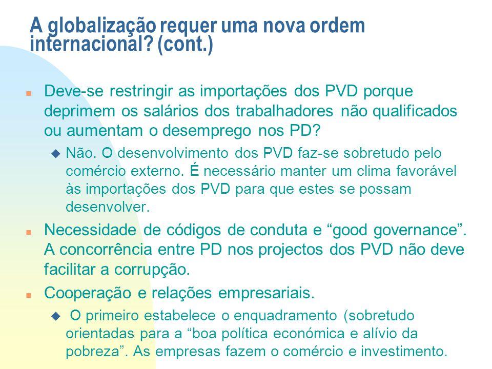 A globalização requer uma nova ordem internacional? (cont.) Deve-se restringir as importações dos PVD porque deprimem os salários dos trabalhadores nã