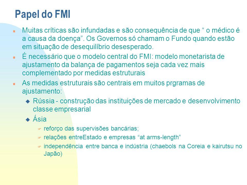 """Papel do FMI Muitas críticas são infundadas e são consequência de que """" o médico é a causa da doença"""". Os Governos só chamam o Fundo quando estão em s"""