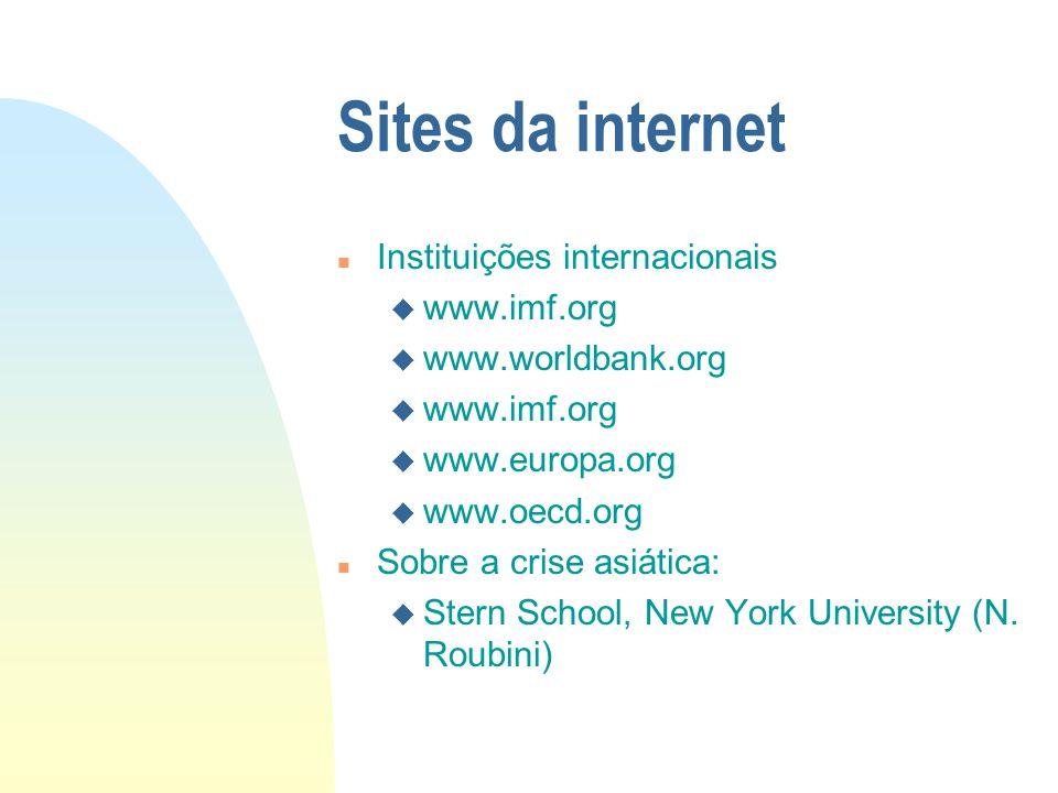 Sites da internet n Instituições internacionais u www.imf.org u www.worldbank.org u www.imf.org u www.europa.org u www.oecd.org n Sobre a crise asiáti
