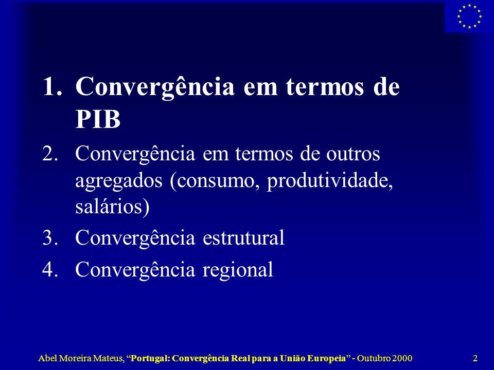 Abel Moreira Mateus, Portugal: Convergência Real para a União Europeia - Outubro 2000 2 1.Convergência em termos de PIB 2.Convergência em termos de outros agregados (consumo, produtividade, salários) 3.Convergência estrutural 4.Convergência regional