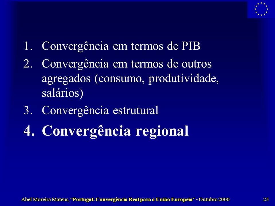 Abel Moreira Mateus, Portugal: Convergência Real para a União Europeia - Outubro 2000 25 1.Convergência em termos de PIB 2.Convergência em termos de outros agregados (consumo, produtividade, salários) 3.Convergência estrutural 4.Convergência regional
