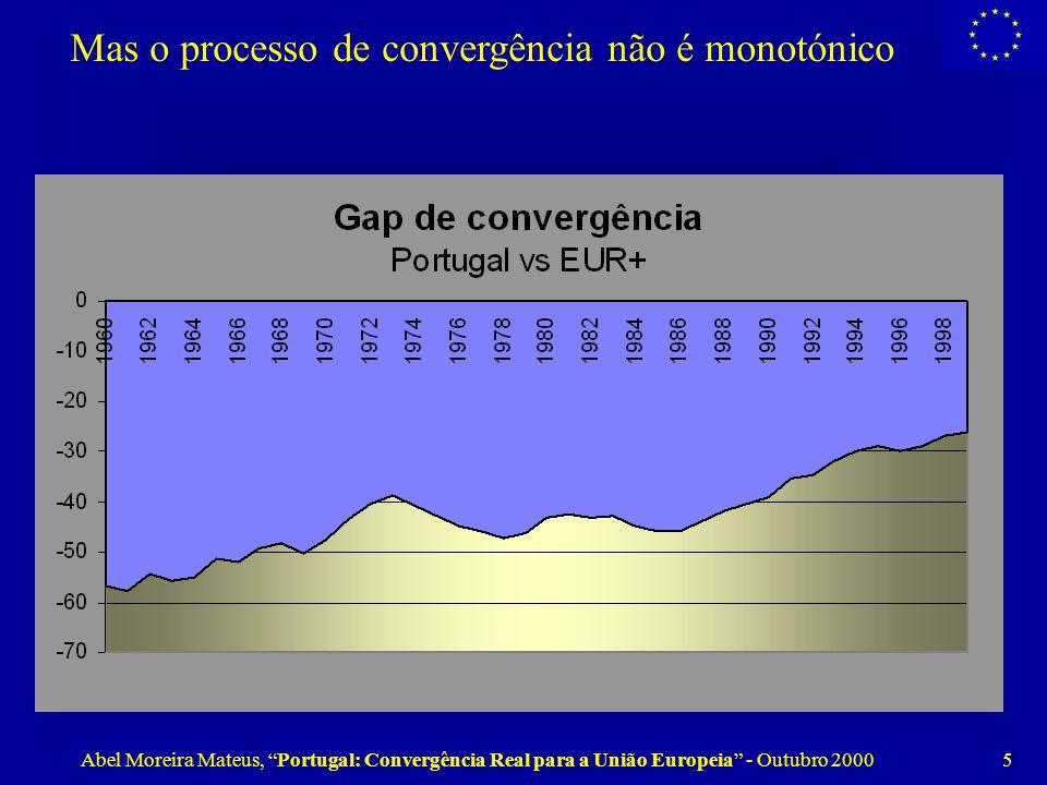 Abel Moreira Mateus, Portugal: Convergência Real para a União Europeia - Outubro 2000 5 Mas o processo de convergência não é monotónico