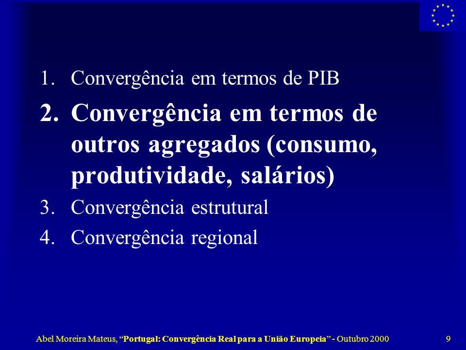 Abel Moreira Mateus, Portugal: Convergência Real para a União Europeia - Outubro 2000 9 1.Convergência em termos de PIB 2.Convergência em termos de outros agregados (consumo, produtividade, salários) 3.Convergência estrutural 4.Convergência regional