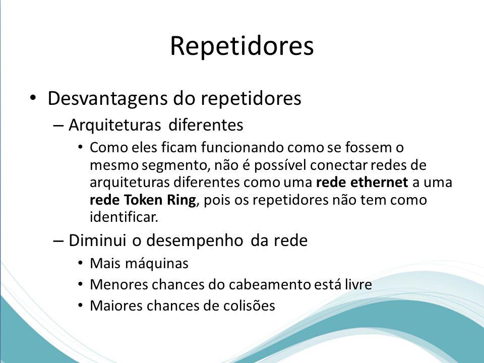 Repetidores Desvantagens do repetidores – Arquiteturas diferentes Como eles ficam funcionando como se fossem o mesmo segmento, não é possível conectar