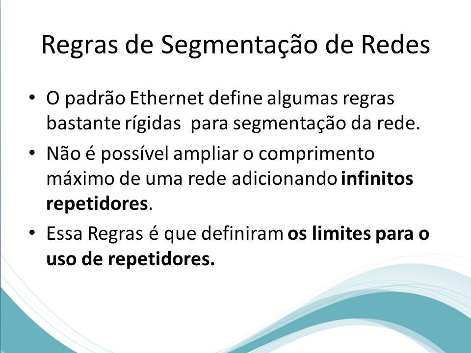 Regras de Segmentação de Redes O padrão Ethernet define algumas regras bastante rígidas para segmentação da rede. Não é possível ampliar o comprimento