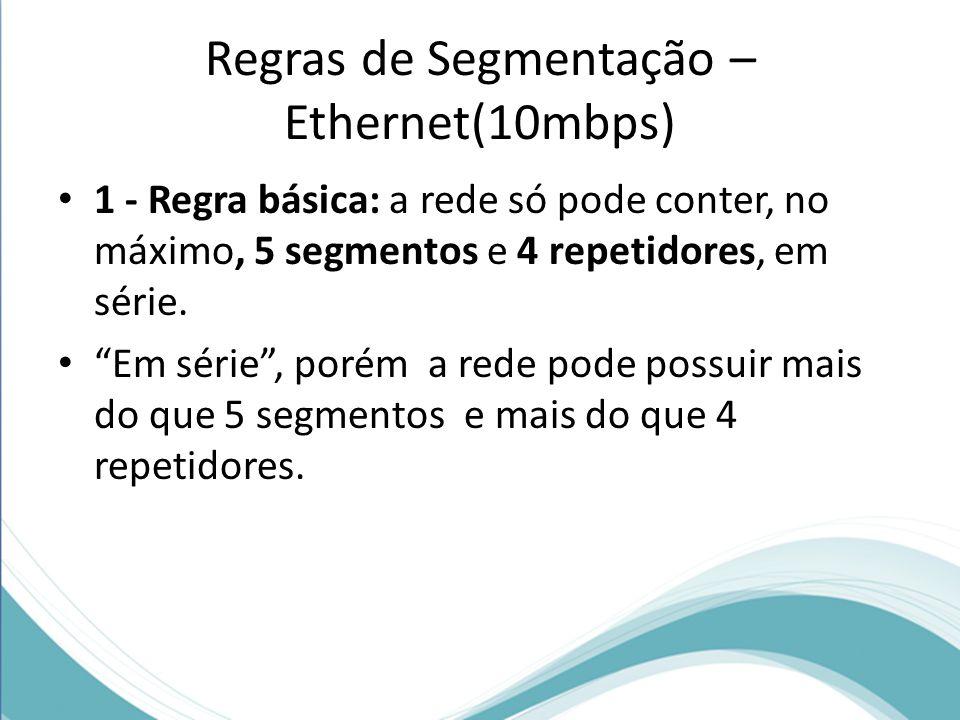 """Regras de Segmentação – Ethernet(10mbps) 1 - Regra básica: a rede só pode conter, no máximo, 5 segmentos e 4 repetidores, em série. """"Em série"""", porém"""