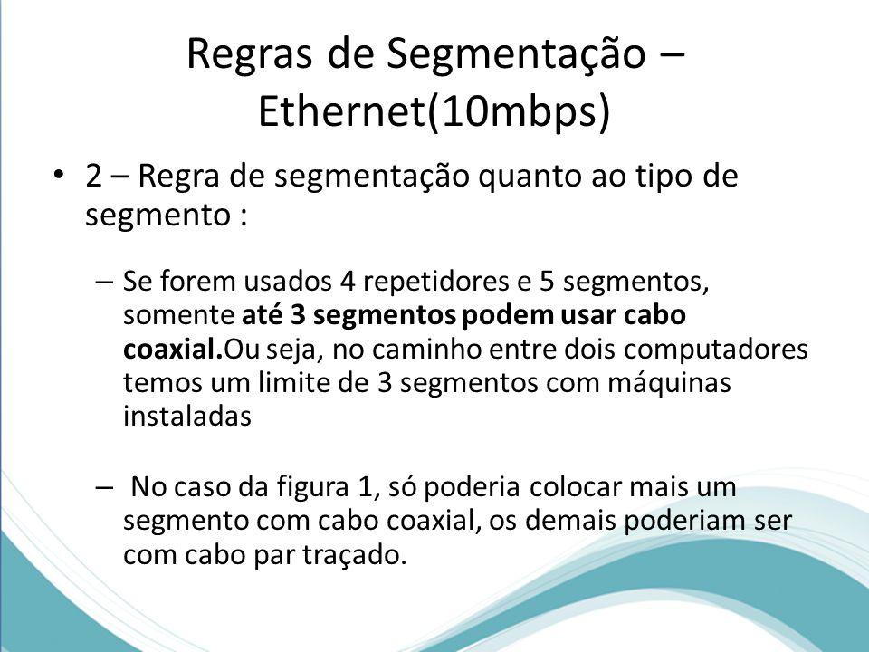 Regras de Segmentação – Ethernet(10mbps) 2 – Regra de segmentação quanto ao tipo de segmento : – Se forem usados 4 repetidores e 5 segmentos, somente