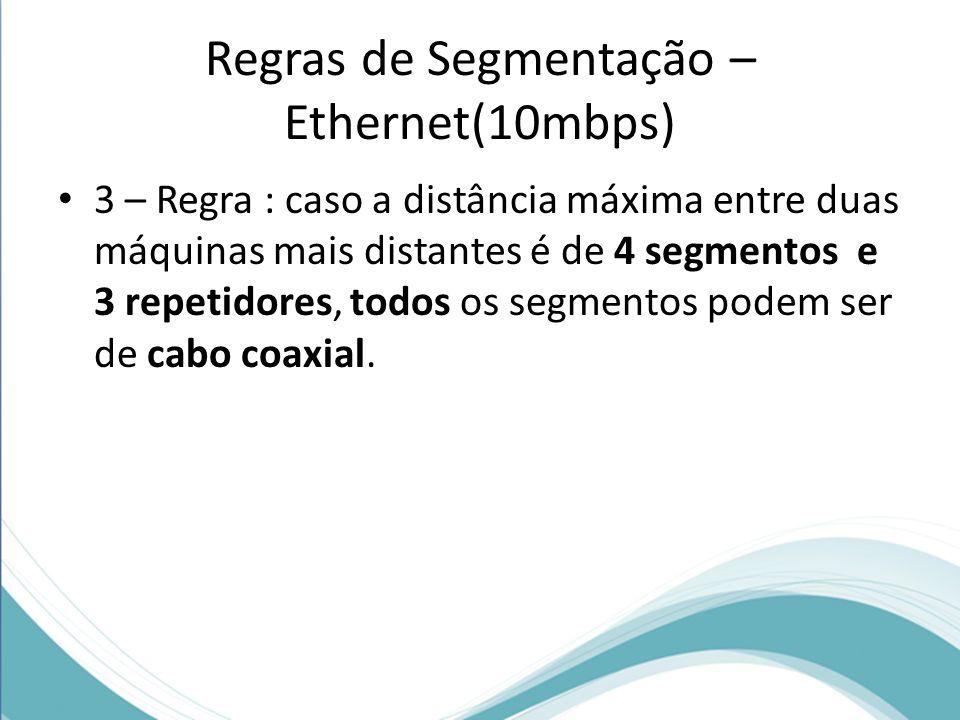 Regras de Segmentação – Ethernet(10mbps) 3 – Regra : caso a distância máxima entre duas máquinas mais distantes é de 4 segmentos e 3 repetidores, todo