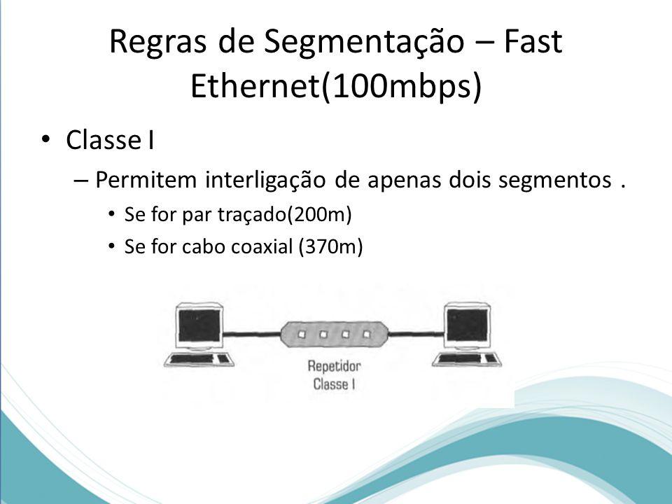 Regras de Segmentação – Fast Ethernet(100mbps) Classe I – Permitem interligação de apenas dois segmentos. Se for par traçado(200m) Se for cabo coaxial