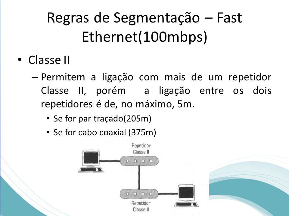 Regras de Segmentação – Fast Ethernet(100mbps) Classe II – Permitem a ligação com mais de um repetidor Classe II, porém a ligação entre os dois repeti