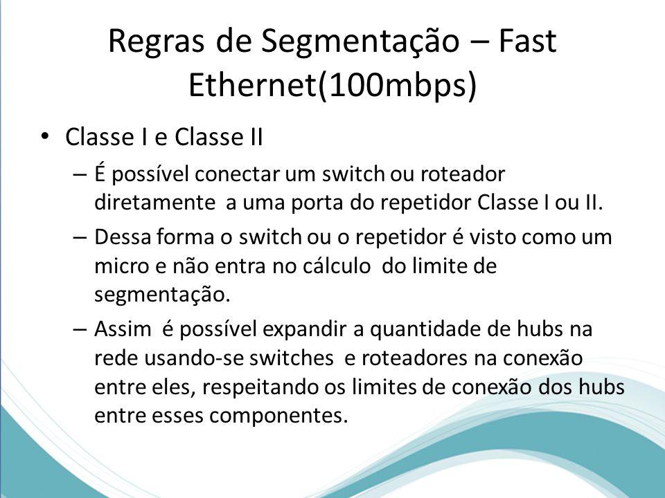 Regras de Segmentação – Fast Ethernet(100mbps) Classe I e Classe II – É possível conectar um switch ou roteador diretamente a uma porta do repetidor C
