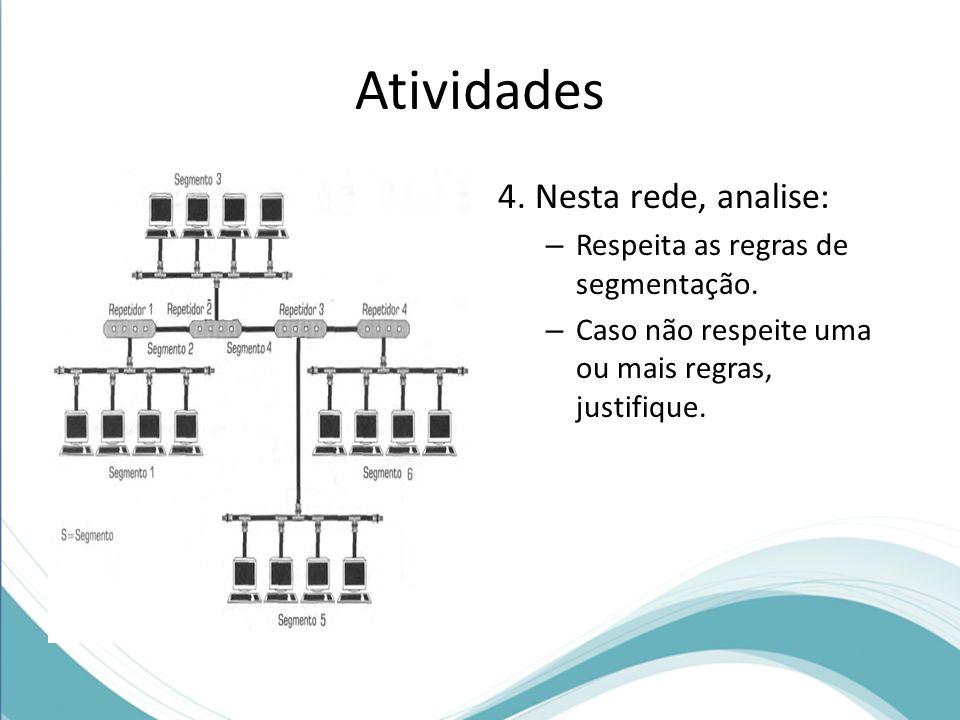 Atividades 4. Nesta rede, analise: – Respeita as regras de segmentação. – Caso não respeite uma ou mais regras, justifique.