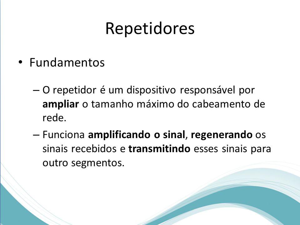 Fundamentos – O repetidor é um dispositivo responsável por ampliar o tamanho máximo do cabeamento de rede. – Funciona amplificando o sinal, regenerand