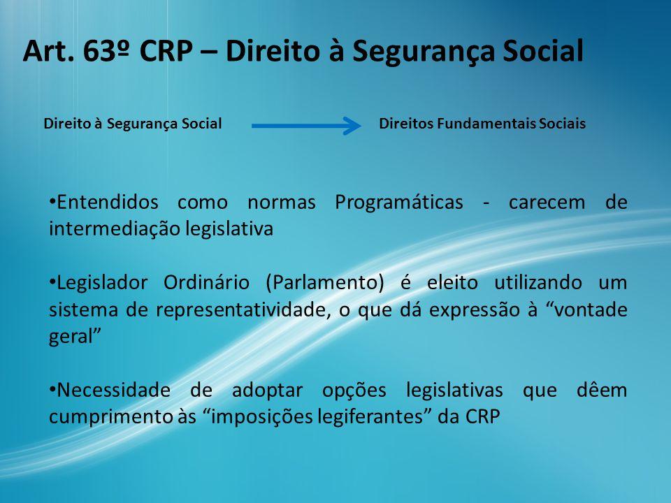 O RSI é uma opção política / legislativa PROBLEMA Ppio.