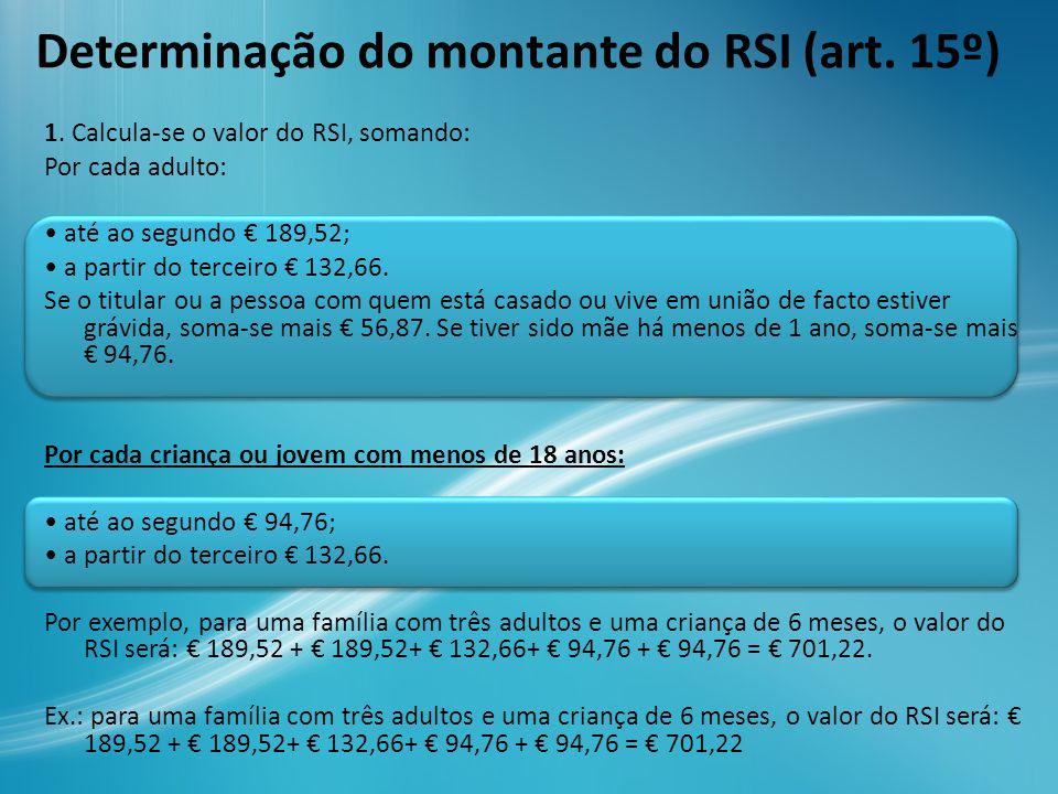 Determinação do montante do RSI (art. 15º) 1. Calcula-se o valor do RSI, somando: Por cada adulto: até ao segundo € 189,52; a partir do terceiro € 132