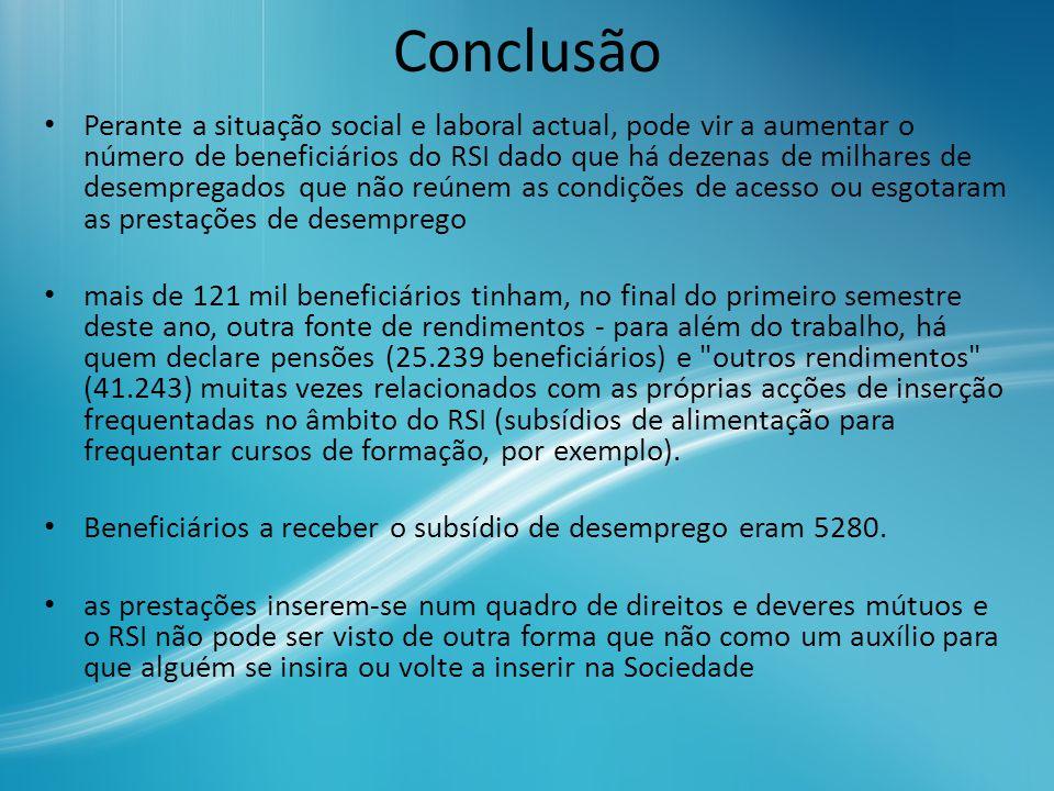 Conclusão Perante a situação social e laboral actual, pode vir a aumentar o número de beneficiários do RSI dado que há dezenas de milhares de desempre