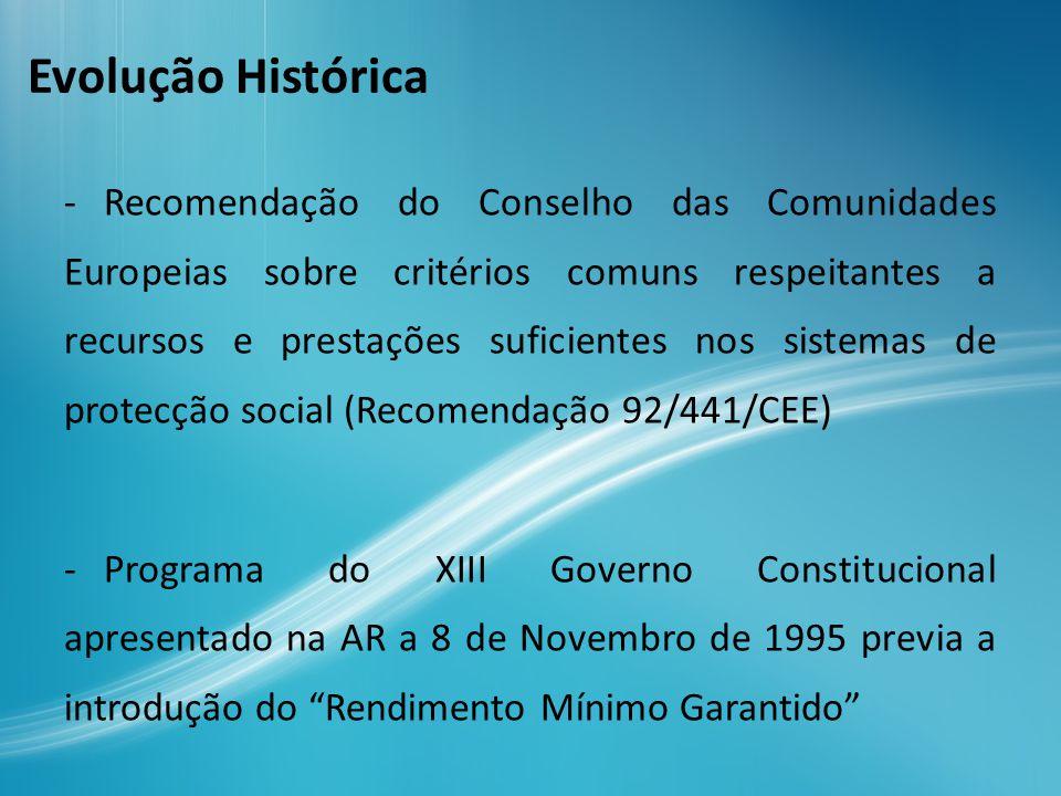 Em 1996 é apresentado o projecto de Lei nº 6/VII pelo PCP e a proposta de Lei nº 25/VII do Governo Aprovada a 28 de Maio de 1996, dando lugar à Lei 19 A/96 de 29 de Junho, que criou o Rendimento Mínimo Garantido