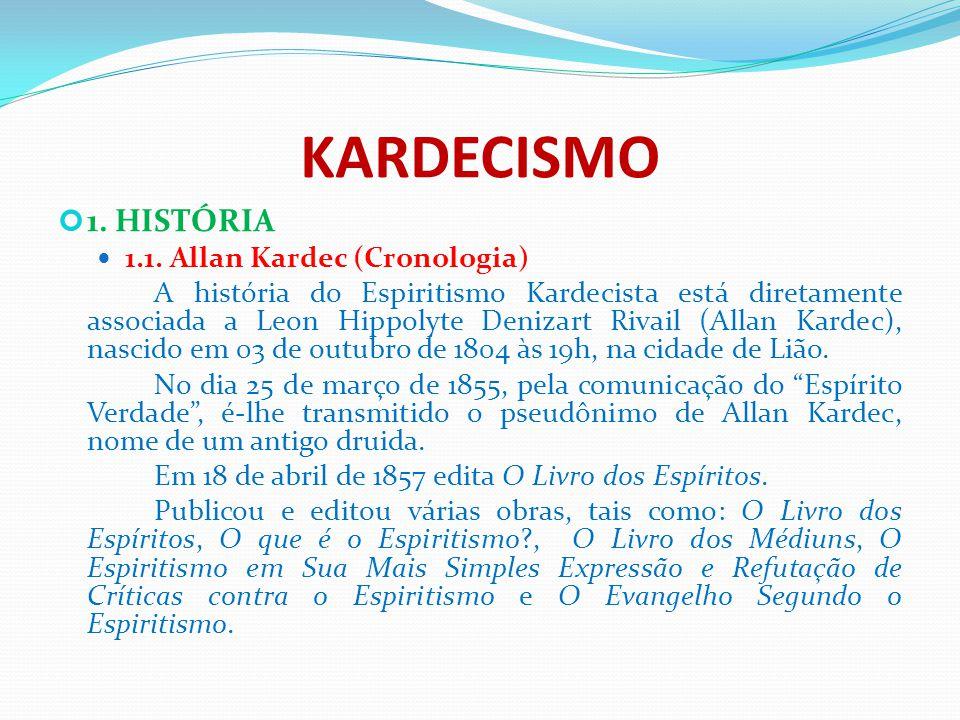 KARDECISMO 1. HISTÓRIA 1.1. Allan Kardec (Cronologia) A história do Espiritismo Kardecista está diretamente associada a Leon Hippolyte Denizart Rivail