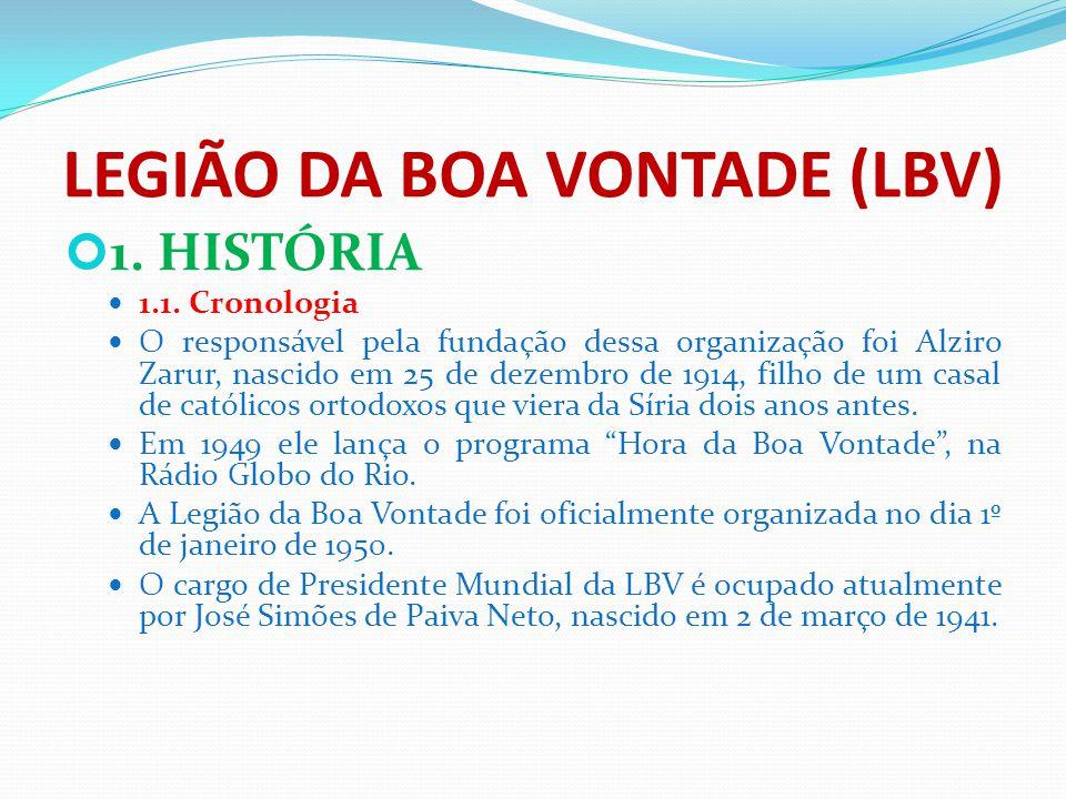 LEGIÃO DA BOA VONTADE (LBV) 1. HISTÓRIA 1.1. Cronologia O responsável pela fundação dessa organização foi Alziro Zarur, nascido em 25 de dezembro de 1