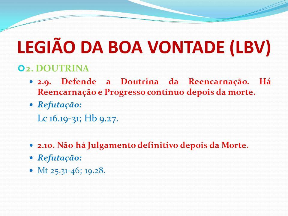 LEGIÃO DA BOA VONTADE (LBV) 2. DOUTRINA 2.9. Defende a Doutrina da Reencarnação. Há Reencarnação e Progresso contínuo depois da morte. Refutação: Lc 1