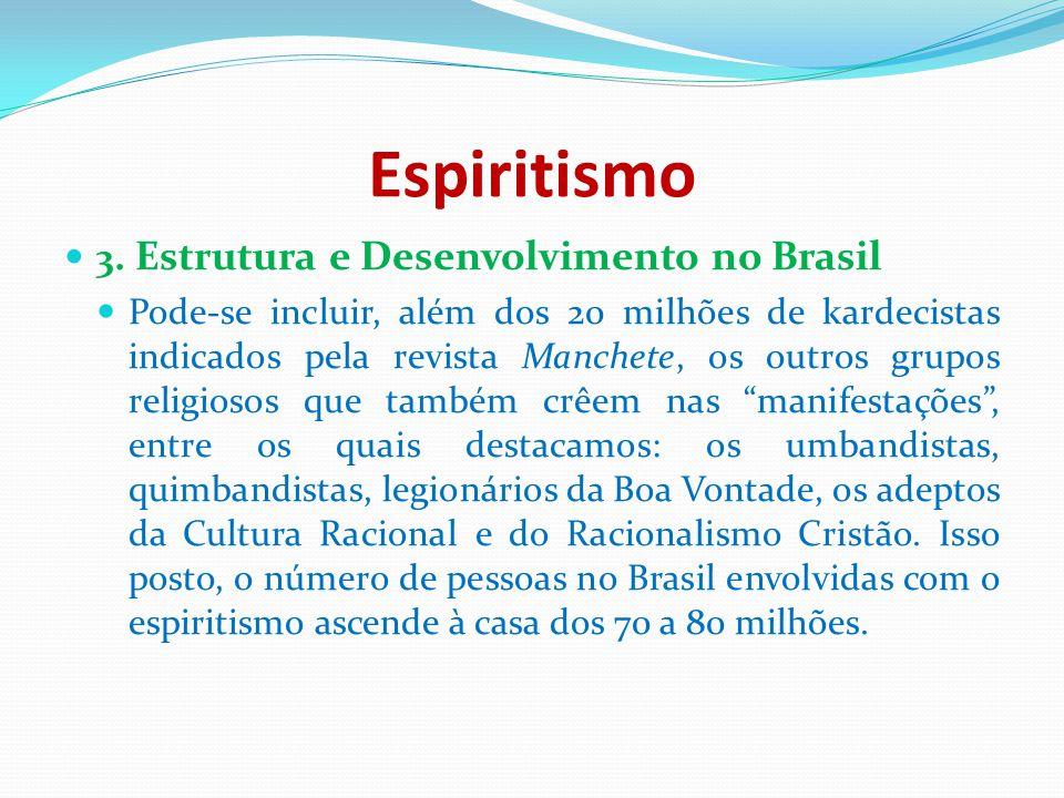 Espiritismo 3. Estrutura e Desenvolvimento no Brasil Pode-se incluir, além dos 20 milhões de kardecistas indicados pela revista Manchete, os outros gr