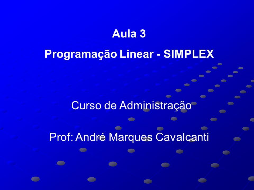 Aula 3 Programação Linear - SIMPLEX Curso de Administração Prof: André Marques Cavalcanti