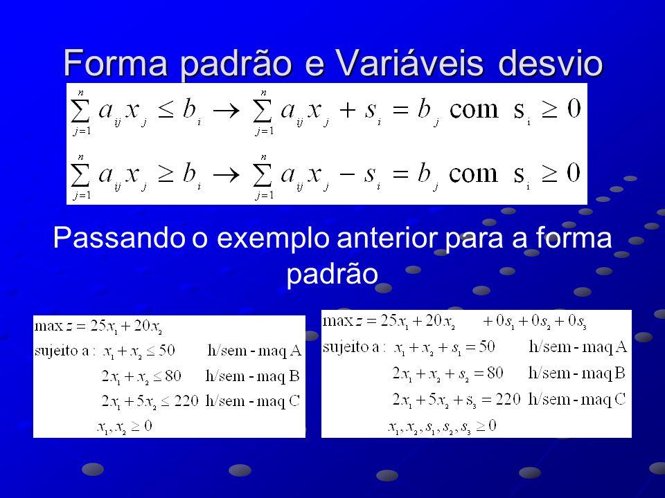 Forma padrão e Variáveis desvio Passando o exemplo anterior para a forma padrão