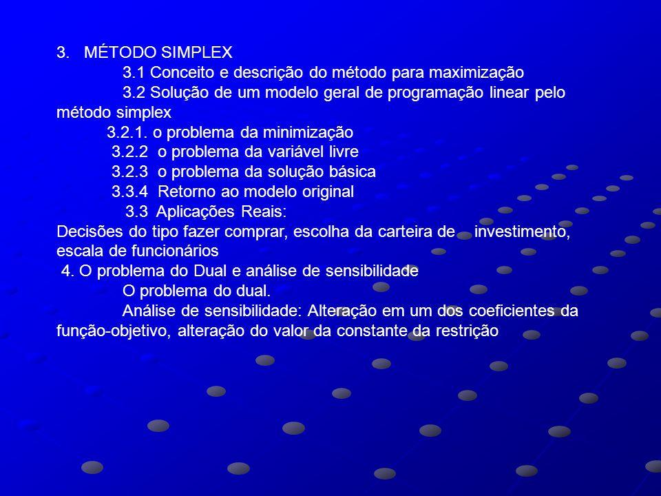 3. MÉTODO SIMPLEX 3.1 Conceito e descrição do método para maximização 3.2 Solução de um modelo geral de programação linear pelo método simplex 3.2.1.