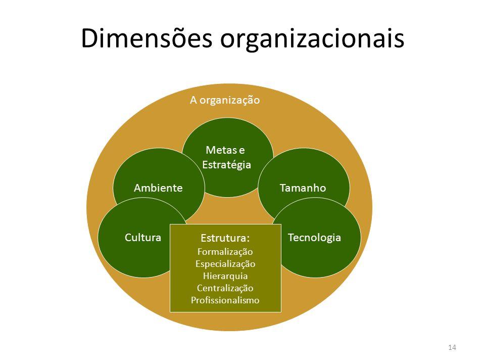 14 Dimensões organizacionais Metas e Estratégia Ambiente Tamanho TecnologiaCultura Estrutura: Formalização Especialização Hierarquia Centralização Pro