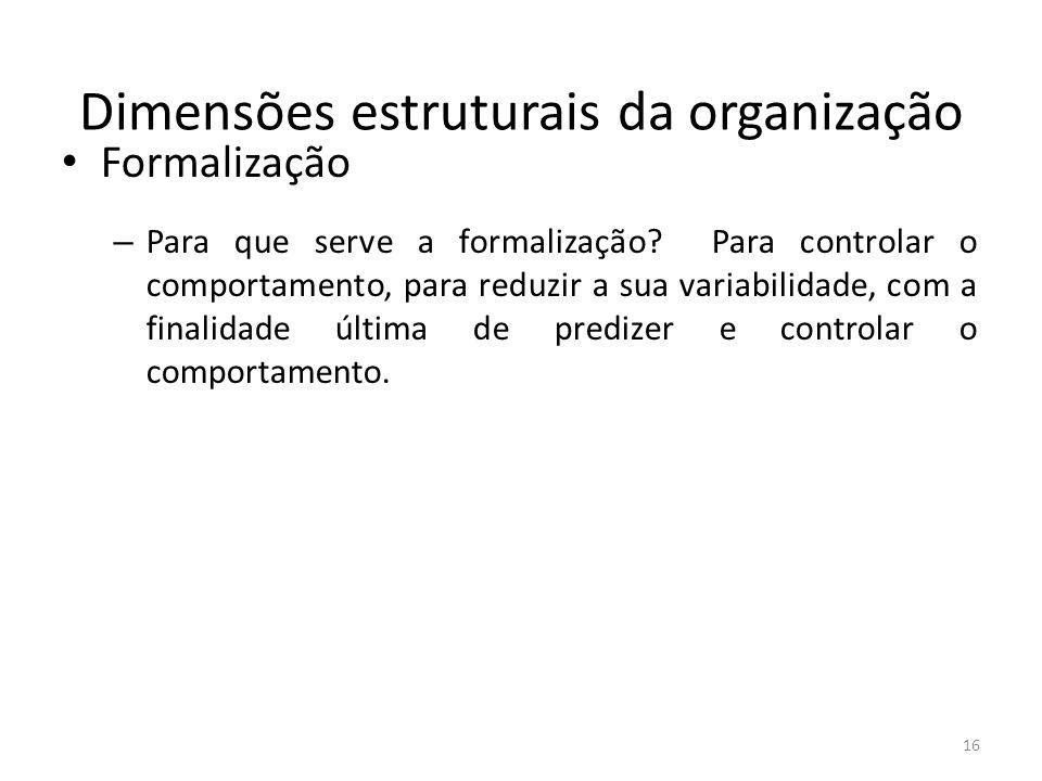 16 Dimensões estruturais da organização Formalização – Para que serve a formalização? Para controlar o comportamento, para reduzir a sua variabilidade