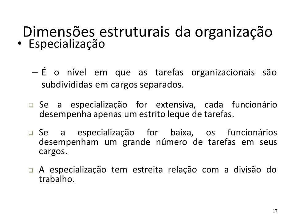 17 Dimensões estruturais da organização Especialização – É o nível em que as tarefas organizacionais são subdivididas em cargos separados.  Se a espe