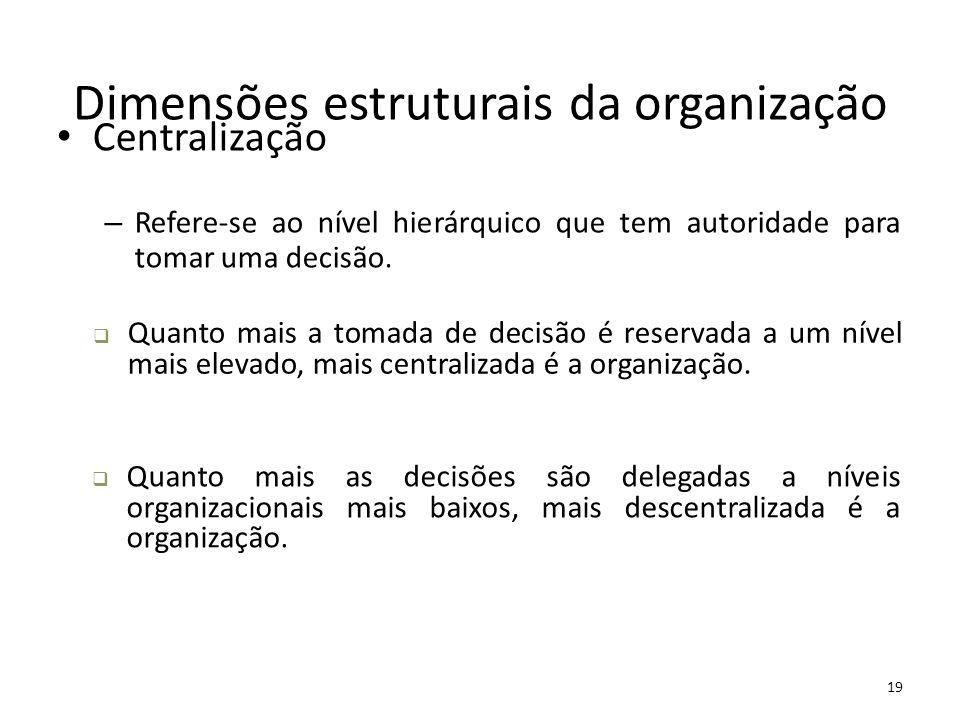 19 Dimensões estruturais da organização Centralização – Refere-se ao nível hierárquico que tem autoridade para tomar uma decisão.  Quanto mais a toma