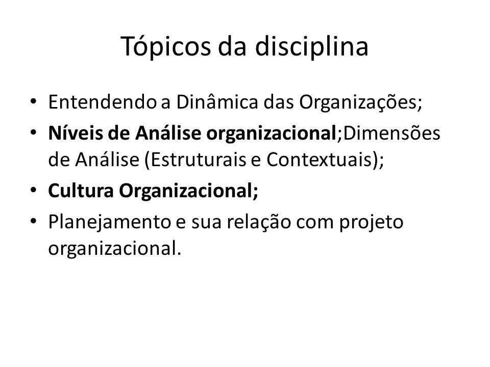 Tópicos da disciplina Entendendo a Dinâmica das Organizações; Níveis de Análise organizacional;Dimensões de Análise (Estruturais e Contextuais); Cultu