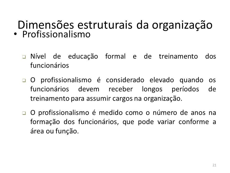 21 Dimensões estruturais da organização Profissionalismo  Nível de educação formal e de treinamento dos funcionários  O profissionalismo é considera