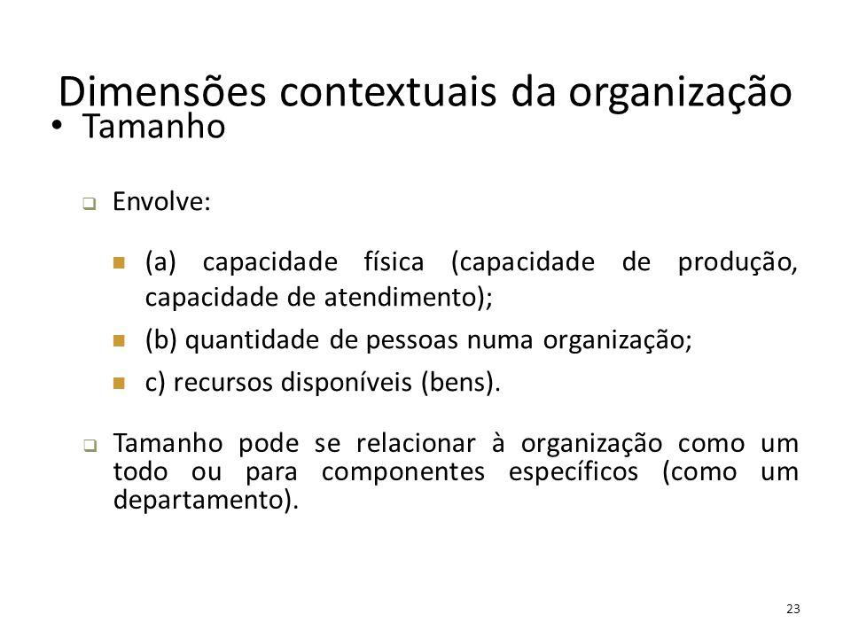 23 Dimensões contextuais da organização Tamanho  Envolve: (a) capacidade física (capacidade de produção, capacidade de atendimento); (b) quantidade d