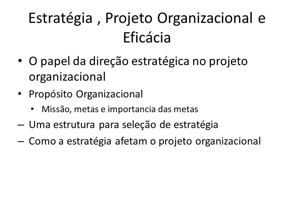 Estratégia, Projeto Organizacional e Eficácia O papel da direção estratégica no projeto organizacional Propósito Organizacional Missão, metas e import
